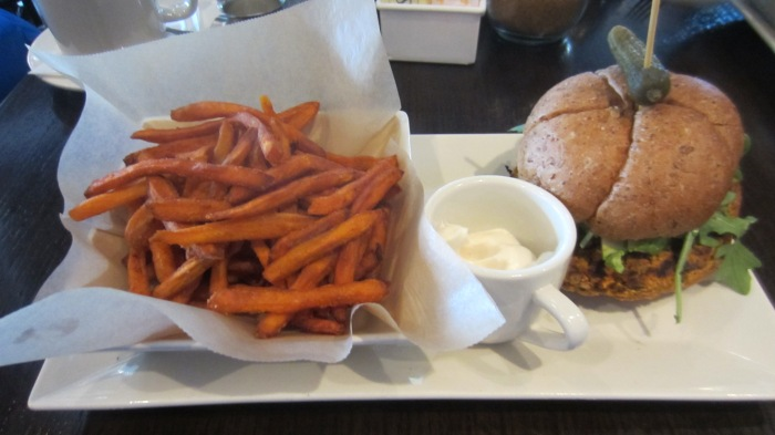 The Veggie Burger with Sweet Potato fries